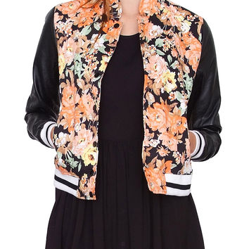 Flower Ground Bomber Jacket - Black Print