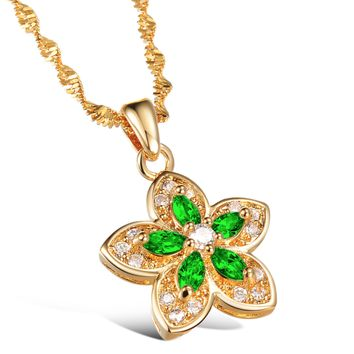 Gold plated flower shape emerald necklace