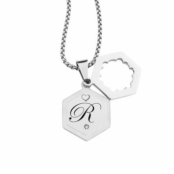 Double Hexagram Initial Necklace With Cubic Zirconia By Pink Box - R