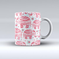 The Sacred Red Elephant and Polkadots ink-Fuzed Ceramic Coffee Mug