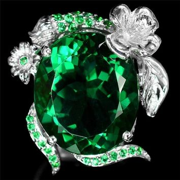 Hot New inlaid green Rainbow Zircon Ring for Women European Wedding Engagement Ring with Big Stone Princess Bride Jewelry