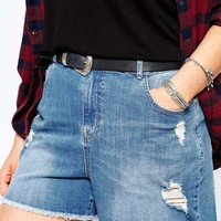 New Look Inspire Frayed Ripped Denim Shorts at asos.com