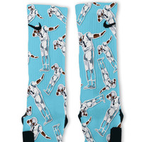 Cam Newton Dab White Custom Nike Elite Socks