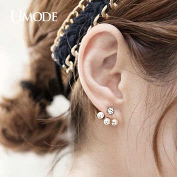 UMODE Chic Double Side Simulated Pearl Ear Jacket Earrings Fashion Brinco Cute Rhodium Color Jewelry JE0255B