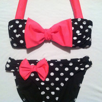 Polka Dot Bikini with Pink Bow