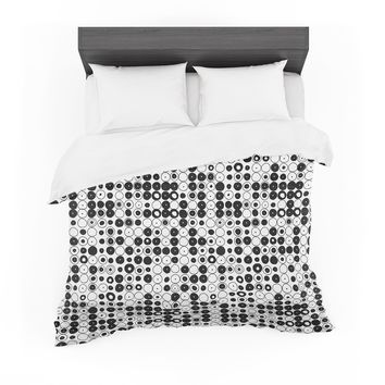 "Nandita Singh ""Black & White Funny Polka Dots"" White Abstract Featherweight Duvet Cover"