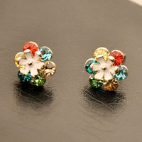 Colorful Flower Rhinestone Earrings