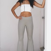 Take Me With You Olive Flare Leg Ribbed Pants