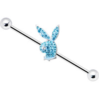 Officially Licensed Aqua Gem Playboy Bunny Industrial Barbell 31mm