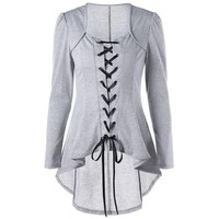 Gothic Style Lace Up High Low Blouse Female Square Neck Long Sleeves