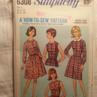 Uncut 1960's Simplicity Sewing Pattern, 6308! Size 12 Bust 32 Small/Medium/Collared Dress/Sleeveless Dress/Button Up Bodice/Flared Skirts