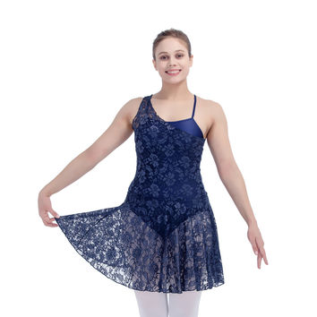 Dark Green Lyrical Lace Overlay Skirts with Shiny Lycra Camisole Dance Leotard Girls Ballet Dancewear Ladies Dancing Dress Sale