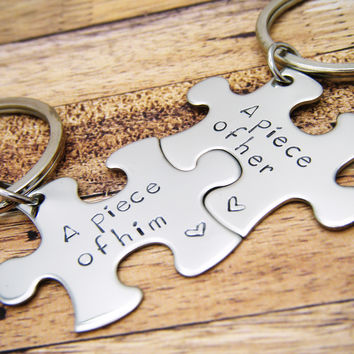 A piece of Him, A piece of her, Couples Keychains, Puzzle Piece Keychains , Anniversary Gift