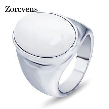 ZORCVENS Top Fashion Stainless Steel Pretty White/Red Brown Opal Rings For Men Oval Shape Charm Ladies Stone Jewelry
