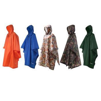 TOMSHOO 3 in 1 Rain Cover Poncho with Hood Hiking Cycling Rain Cover Poncho Coat Outdoor Camping Tent Awning Mat Camouflage