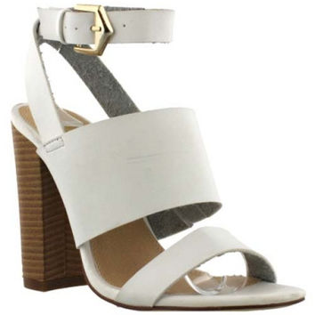 """Sage"" Triple Strap High Heel Sandals - White"