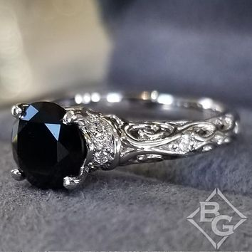 "Artcarved ""Peyton"" Black Diamond Engagement Ring Featuring Scrollwork Design"