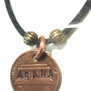 Penny Necklace Asana Hand Stamped Lucky Coin Jewelry w Brass Beads on Black Cord, EcoFriendly, Handmade, Yoga, Zen, Practice, Position, Pose