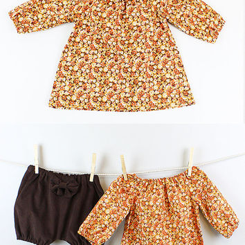 Handmade Infants Girls Baby Toddler Orange, Brown Flower, Floral Peasant Long Top, Blouse,Tunic for winter, christmas, thanksgiving, holiday