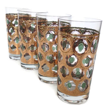 Mid Century Cocktail Glasses-Gold Drinking Glasses-Vintage Barware-Gold and Green-Set of 4