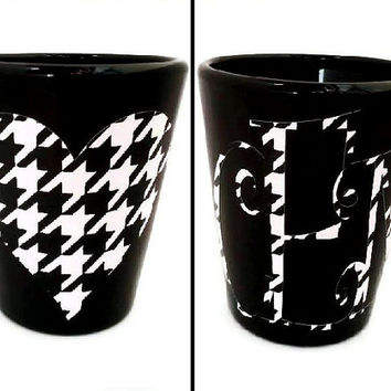 Custom Shot Glass, Houndstooth Monogram, Houndstooth Heart, Personalized Shot Glass