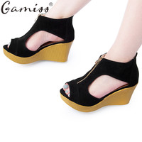 Gamiss Summer Sexy Lady Open Toe Zippers Wedges High Heels Sandals Peep Toe Fish Head Fashion Platform Sandals Lady Casual Shoes