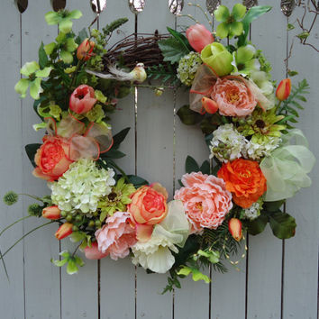 "Silk Floral Grapevine Wreath - ""Tangerine Dream"", Peach, Luxury, Gift, Twig Wreath, Roses, Peony, Cream, Housewarming, Poppies, Summer"