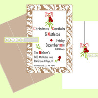 Holiday Christmas party invitations, Holiday Cocktail party, Damask print Mistletoe invitations, Christmas invites digital printables
