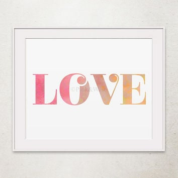 Love Print, Love Printable Art, Girly Wall Art Love Art Print, Printable  Wall