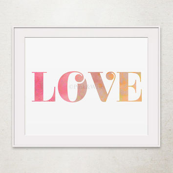Love print, Love printable art, Girly wall art Love art print, Printable wall art Bedroom decor, Love wall decor Dorm Decor Bedroom wall art