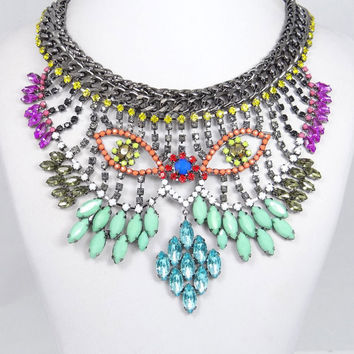 Unique Gorgeous Flower Owl Eye Swarovski Crystal Necklace, Huge Bib Statement Bubble Necklace, beaded Jewelry-150709248