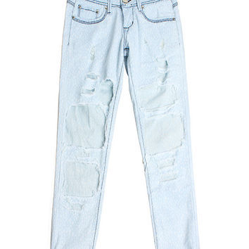 Light Blue Low Waist Ripped Denim Jeans