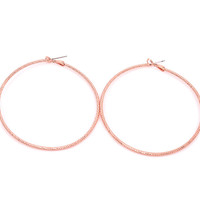 "2.25"" Textured Rose Gold Hoop Earrings"