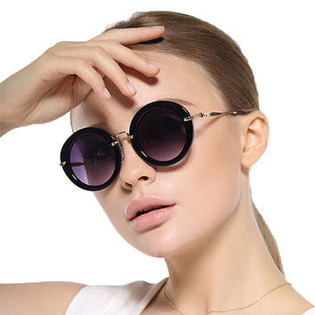 Women UV400 Polarized Sunglasses Retro Circular Frame Qwft038