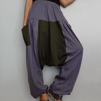 Gray & Green Drop crotch long trouser,Unisex harem Baggy pants, unique cotton blend (Drop pants-25).