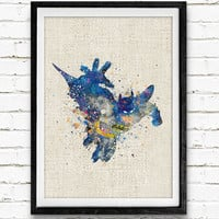Batman Watercolor Poster Print, DC Comics Superhero, Boys Room Wall Art, Home Decor, Not Framed, Buy 2 Get 1 Free!
