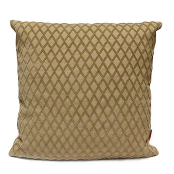 Geometric cut velvet throw Pillow 18x18, decorative couch pillow cover handmade from vintage upholstery fabrics by EllaOsix in beige