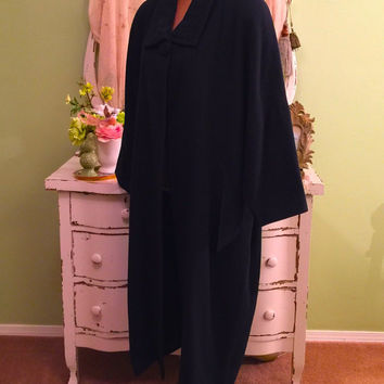 80s Kimono Wool Coat, Avant Garde Duster, Oversized Winter Coat, Black Wrap Coat, Long 80s Vintage Coat, Angular Coat, Medium - Plus Size