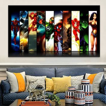 Marvel poster avengers comic Super Heroes Poster art Print painting on canvas wall papers for living bed room caudros decoracion