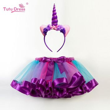 New Fashion Sweet Toddler Kids Baby Girls Clothes Tutu Skirt Outfits Unicorn Cute Children Tulle Skirt + headband Rainbow Skirt