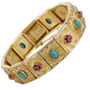 Ruby and Turquoise Yellow Gold Bracelet