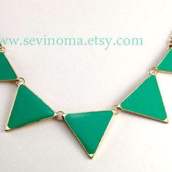 Triangle necklace, geometric necklace, green Triangle necklace, ON SALE