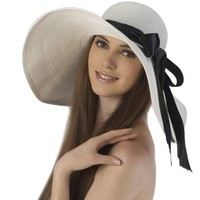 Luxury Lane Women's White Floppy Ribbon Sun Hat