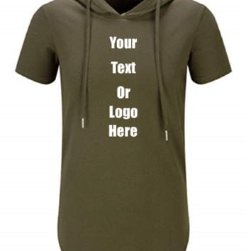 Custom Personalized Design Your Own Hipster Hip Hop Short Sleeve Longline Pullover Hoodie Shirt