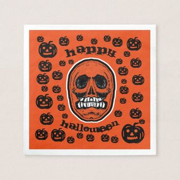 Happy Halloween - Grinder Teeth Skull Paper Napkin