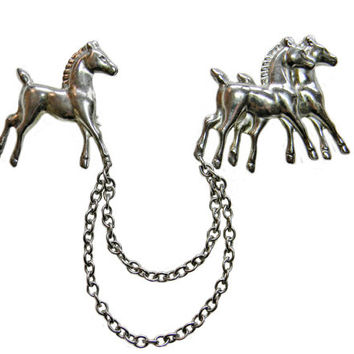 Horses Chatelaine Brooch or Sweater Guard in Silver Tone