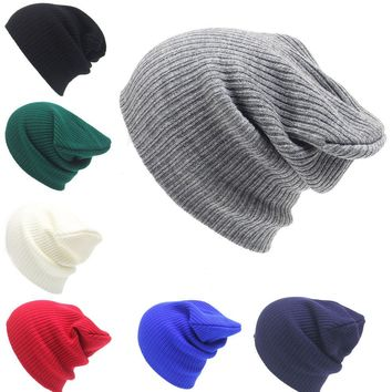 Men Winter Caps Winter Hats For Women  Knitting Beanies Pure Color Joker Autumn And Winter Fashion Warm Earmuffs Adult Cap  Hats