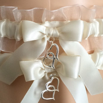 Ivory Wedding Garter Set, Prom Garter