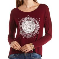 High-Low Glitter Graphic Zodiac Tee by Charlotte Russe - Oxblood