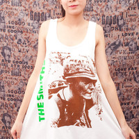 THE SMITHS T Shirt Dress Meat is Murder UK Rock Women White Tunic T-Shirt Top Vest Mini Sleeveless Size M L